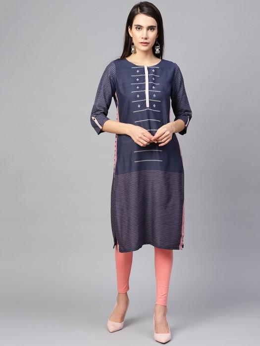 W Blue Color Cotton Fabrickurti