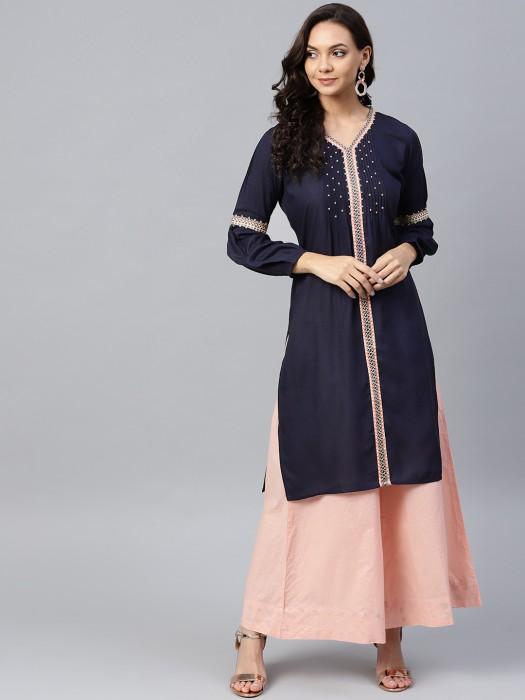 W Blue Hue Cotton Fabric V Neck Kurti