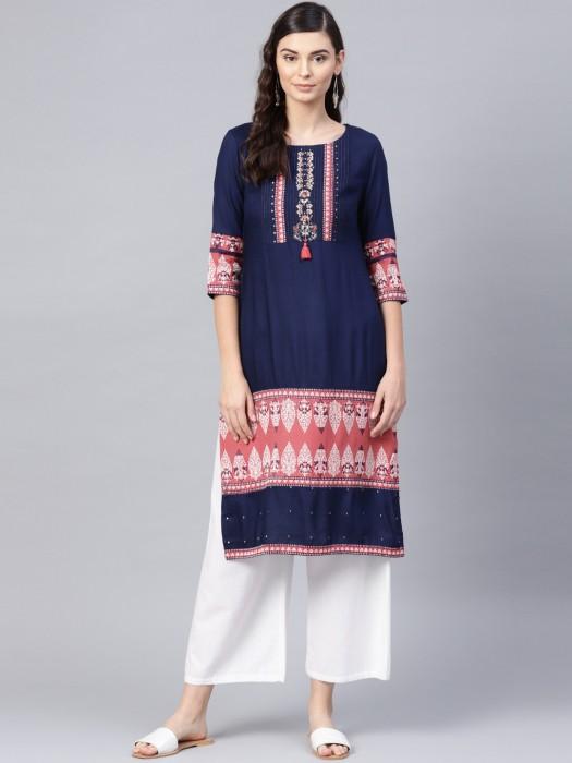 W Cotton Fabric Blue Hue Round Neck Kurti