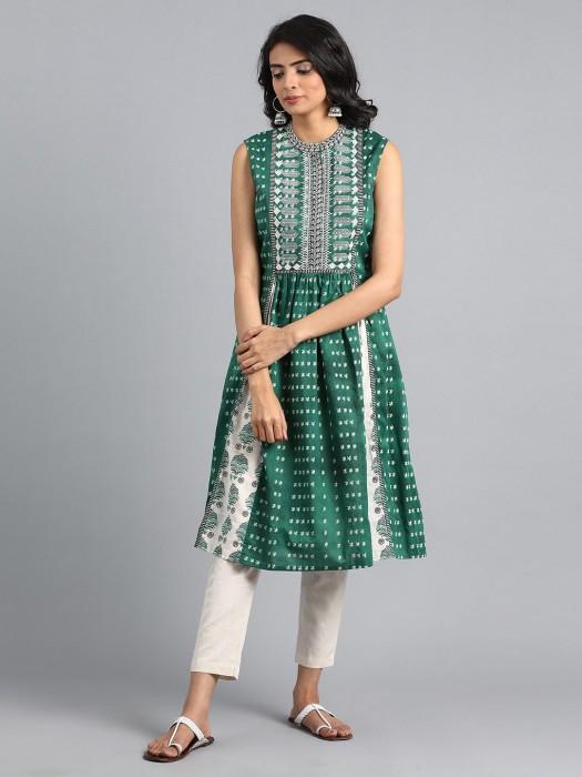 W Green Color Kurti In Cotton Fabric