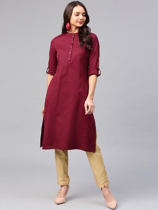 W Maroon Colored Casual Wear Plain Kurti