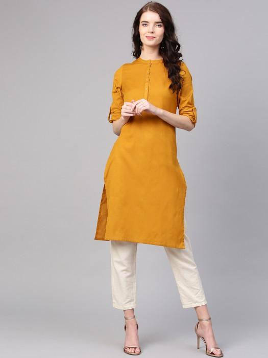 W Mustard Yellow Color Cotton Kurti