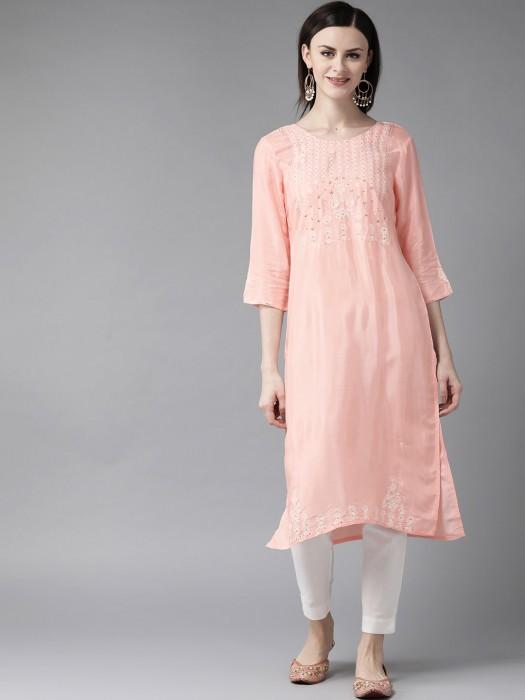 W Peach Casual Wear Cotton Kurti