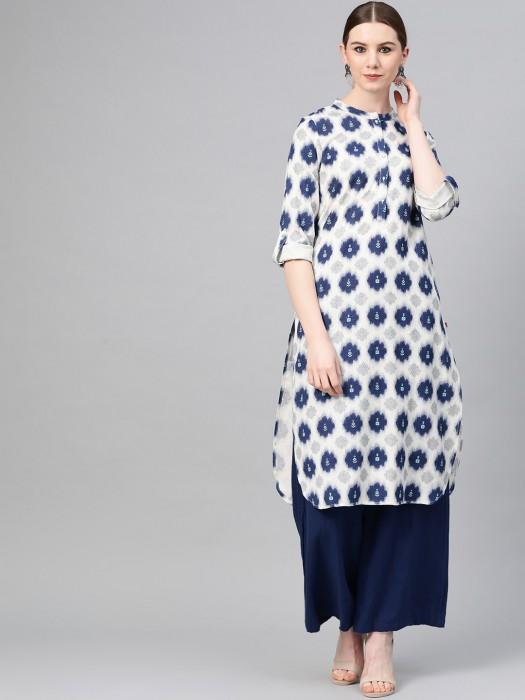 W Printed Design White Chinese Neck Kurti