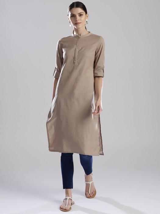 W Simple Cotton Fabric Beige Hue Kurti