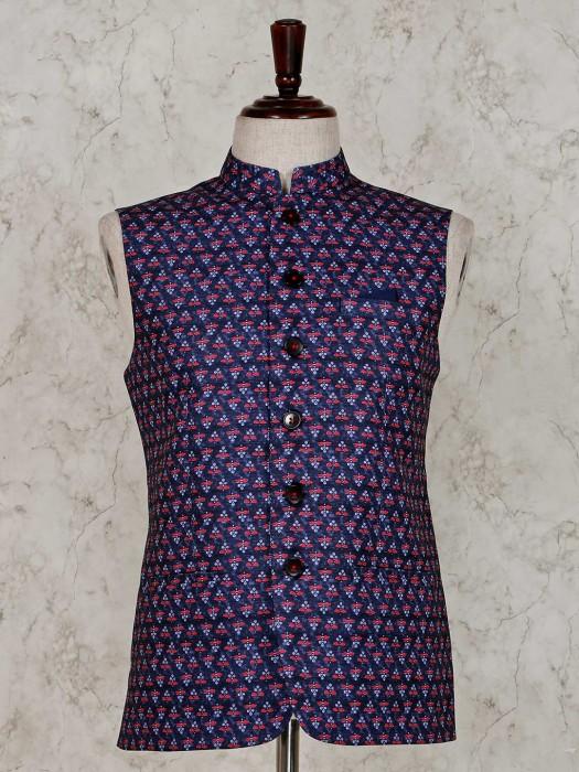 Waistcoat In Navy Raw Silk