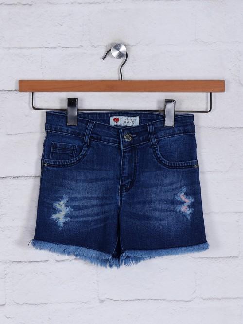 Washed Denim Shorts For Girls