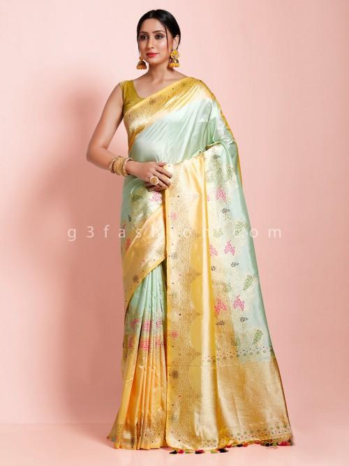 Wedding Banarasi Silk Thread Zari Weaving Sea Green And Yellow Saree