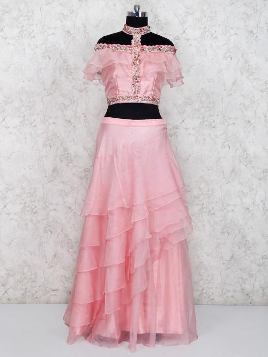 Wedding Function Pink Tissue Silk Lehenga Choli