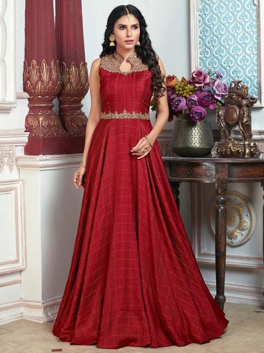 Wedding Function Red Cotton Silk Anarkali Suit