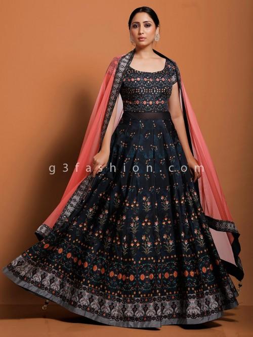 Party Wear Navy Cotton Silk Anarkali Suit With Dupatta