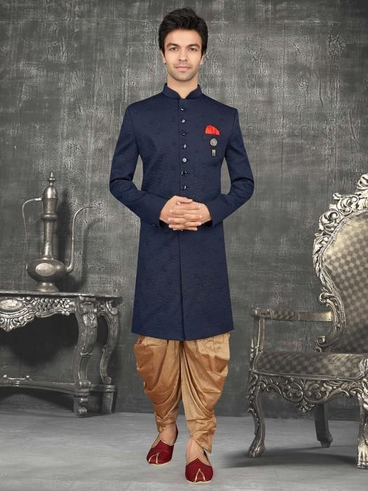 Wedding Navy Terry Rayon Emboss Indo Western Suit