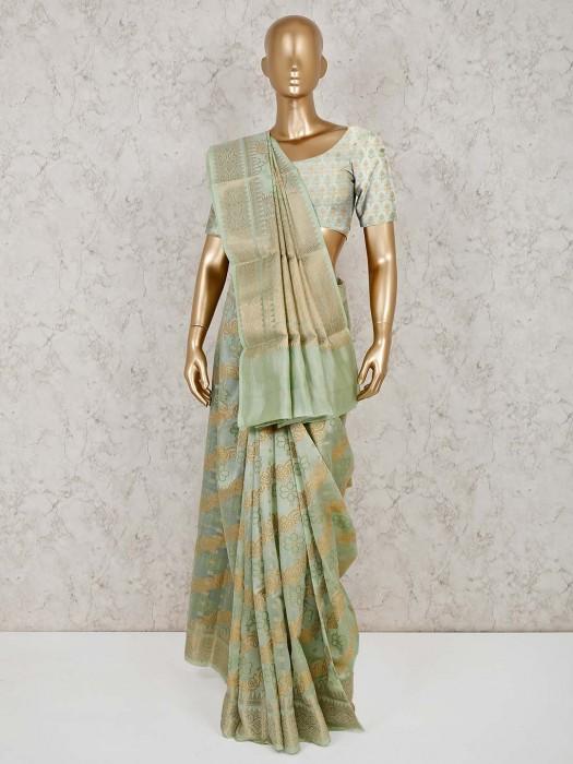 Wedding Pista Green Cotton Banarasi Silk Saree