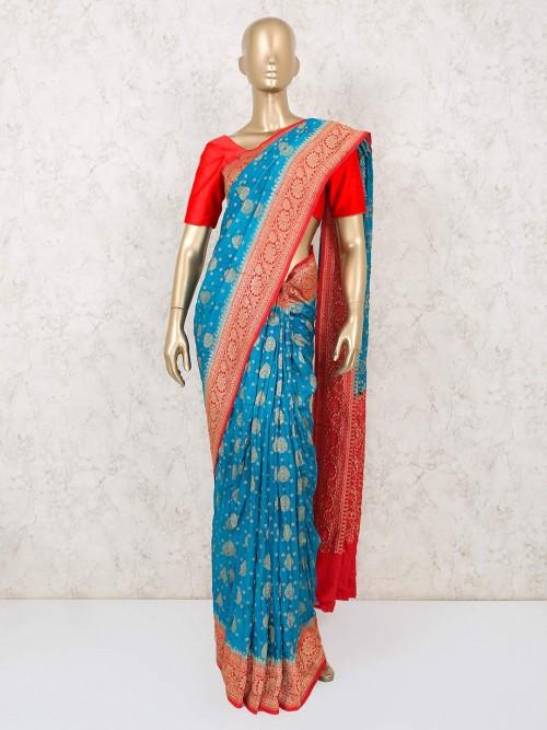 Wedding Wear Auqa Muga Silk Saree