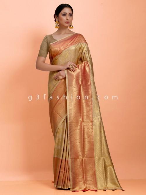 Wedding Wear Beige Art Kanjivaram Silk Contrast Pallu Saree