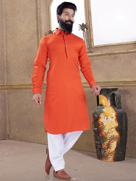 Wedding Wear Bright Orange Pathani Suit