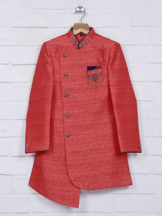 Wedding Wear Chinese Neck Red Indo Western