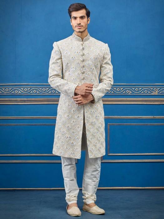 Wedding Wear Cream Terry Rayon Indo Western Suit