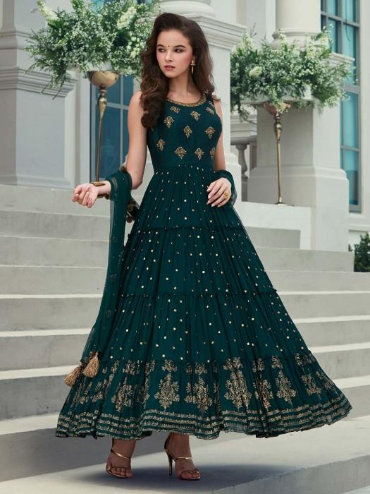 Wedding Wear Green Georgette Anarkali Suit