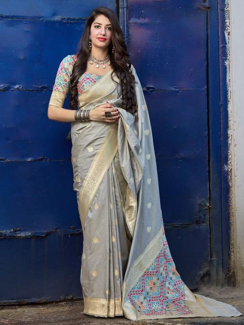 Wedding Wear Grey Banarasi Silk Saree