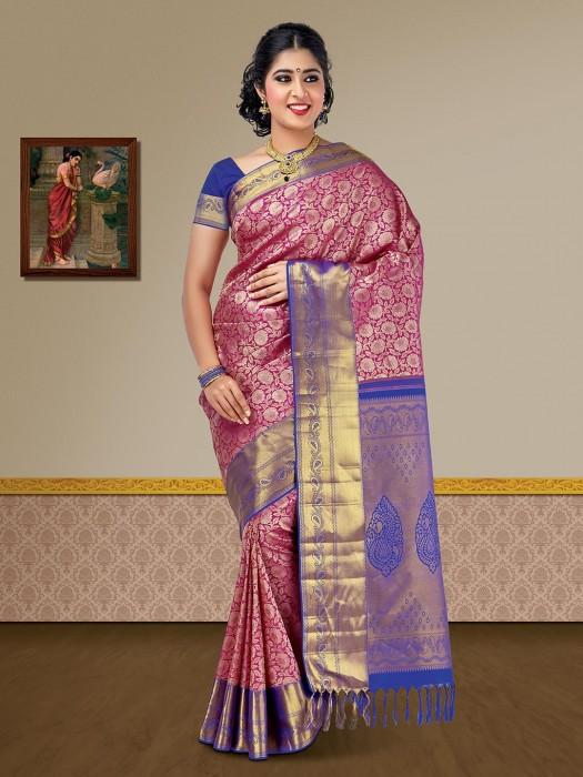 Wedding Wear Magenta Pure Silk Kanjivaram Saree