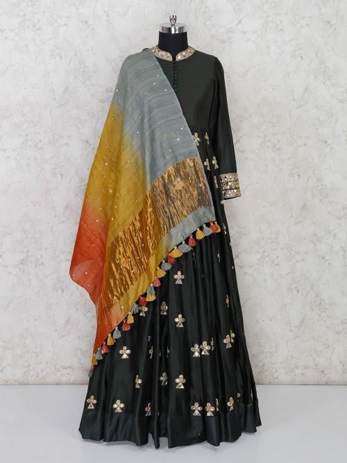 Wedding Wear Mehndi Green Anarkali Salwar Suit