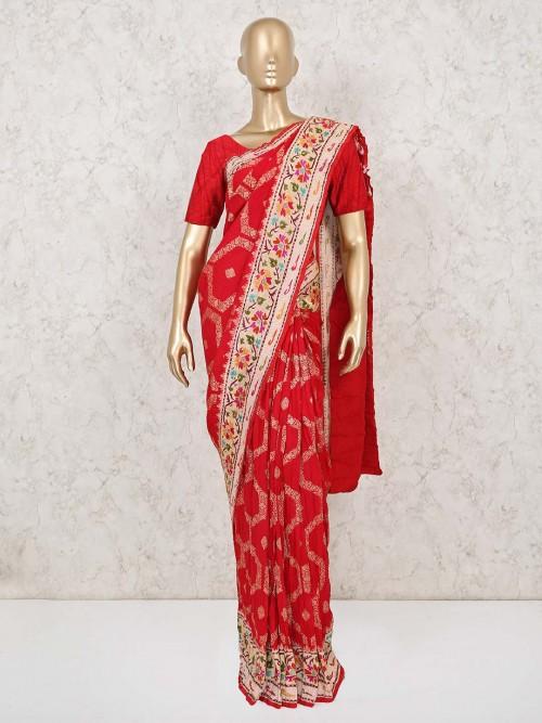 Wedding Wear Red Munga Silk Saree
