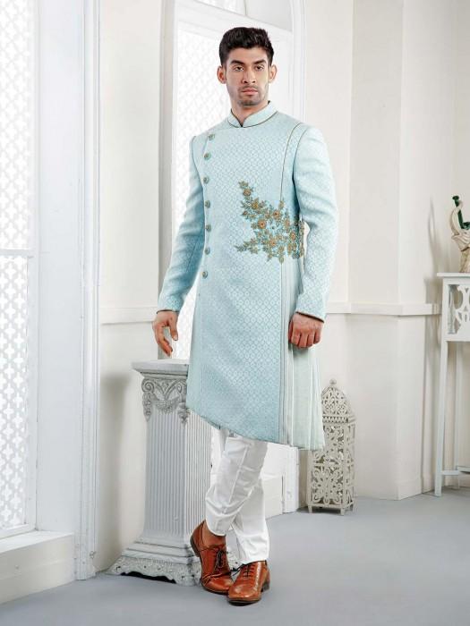 Wedding Wear Sky Blue Designer Indo Western