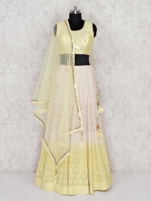 Wedding Wear Yellow Georgette Lehenga Choli