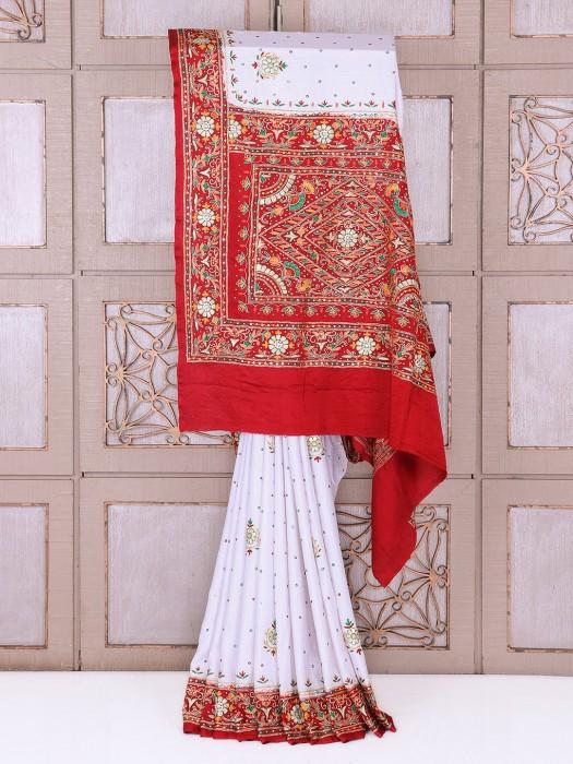 White And Maroon Wedding Wear Silk Saree