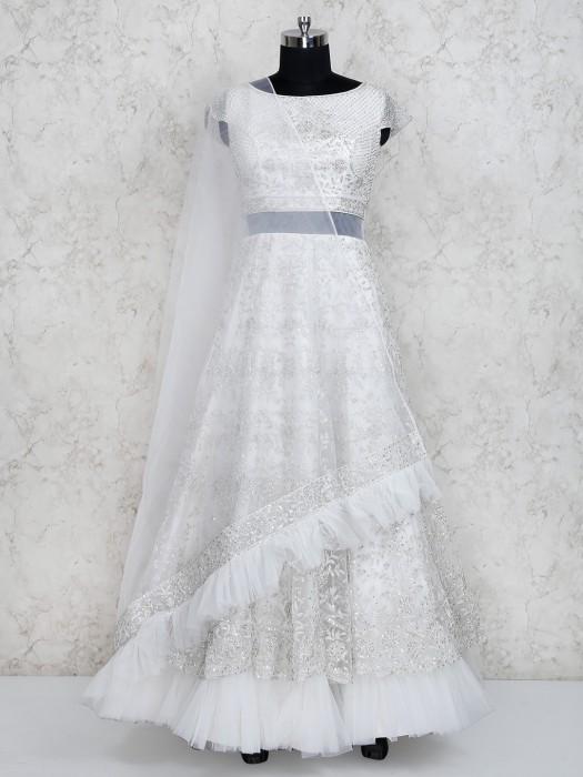 White Color Frill Style Floor Length Anarkali Salwar Suit