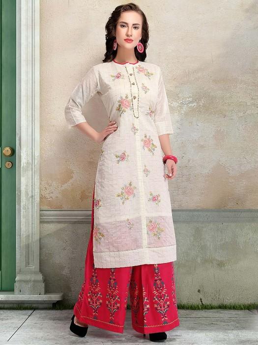 White Color Round Neck Cotton Fabric Punjabi Palazzo Suit