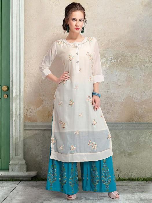 White Color Round Neck Cotton Punjabi Palazzo Suit