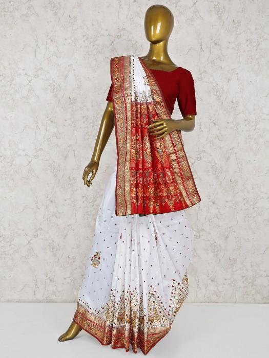 White Colored Silk Wedding Saree
