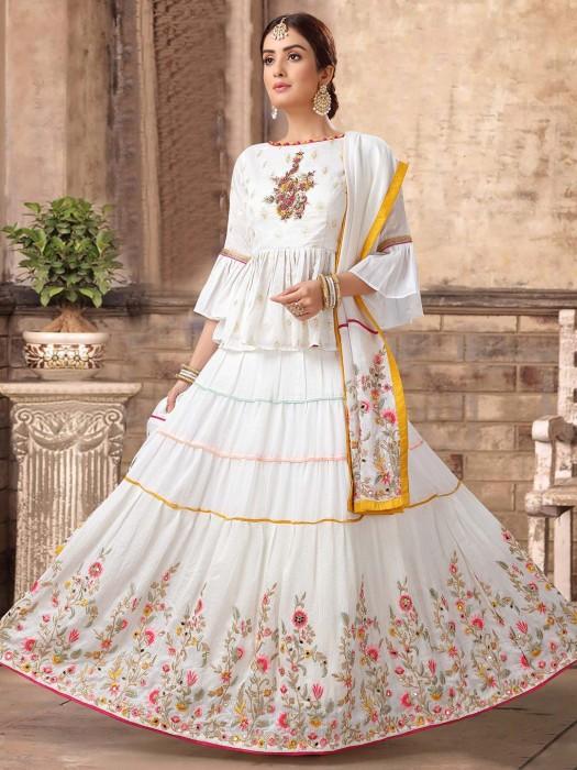 White Festive Cotton Peplum Lehenga Choli