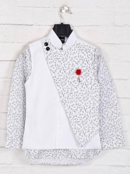White Hue Cotton Printed Waistcoat Set