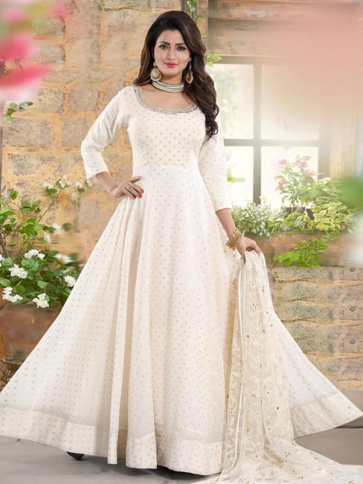 White Hue Cotton Silk Floor Length Anarkali Salwar Suit