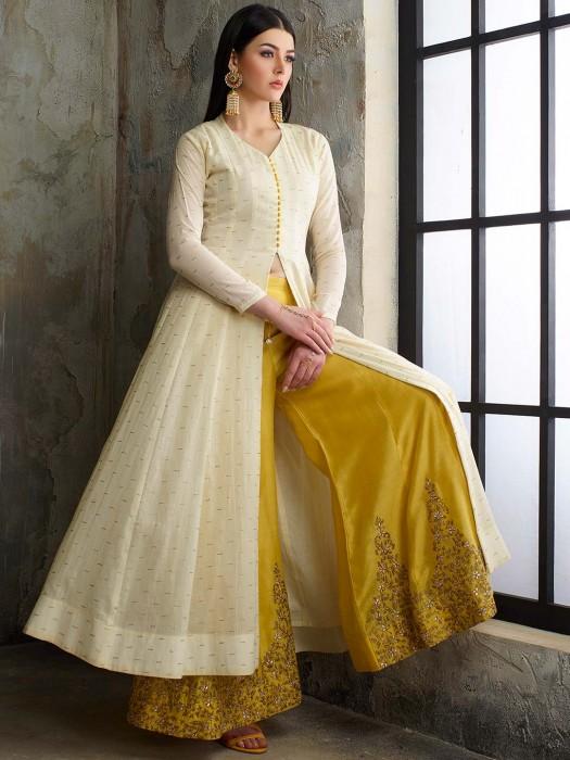 White Hue Punjabi Palazzo Suit