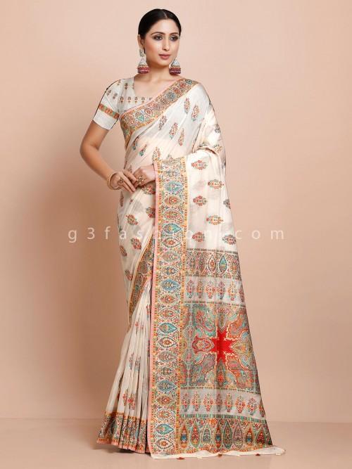 White Pashmina Silk Saree For Weddings