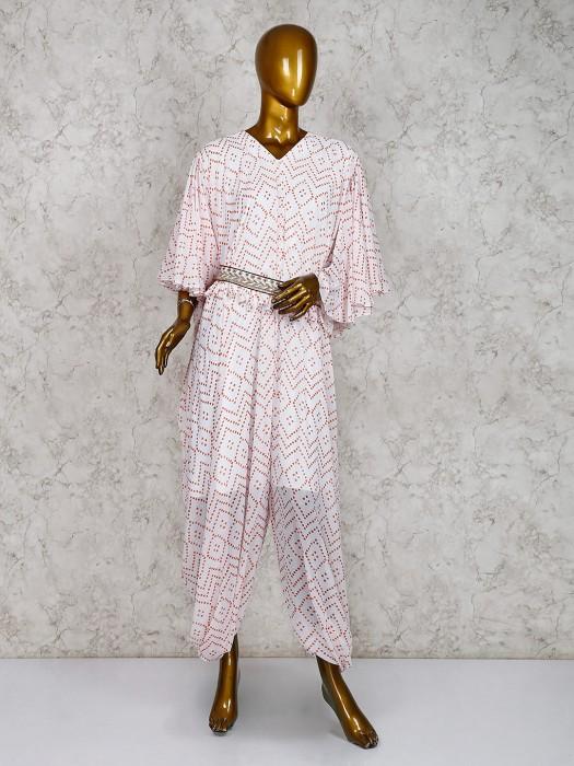 White Printed Cotton Silk Jump Suit