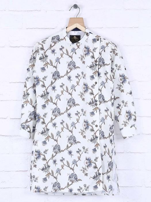 White Printed Pattern Kurta