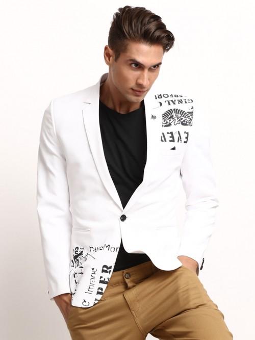 White Printed Terry Rayon Mens Blazer