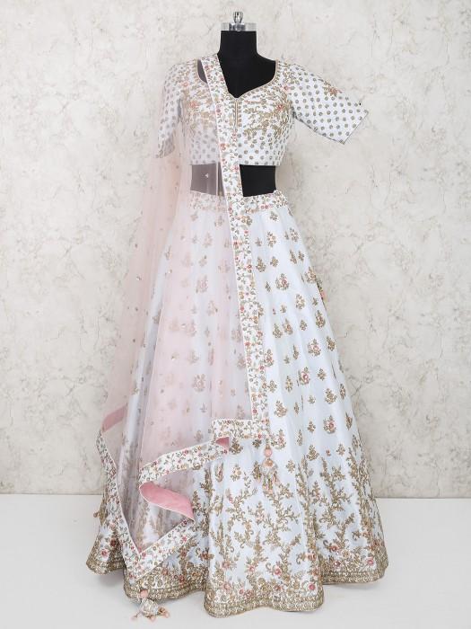 White Silk Fabric Wedding Wear Lehenga Choli