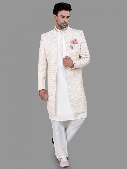 White Silk Wedding Wear Indo Western