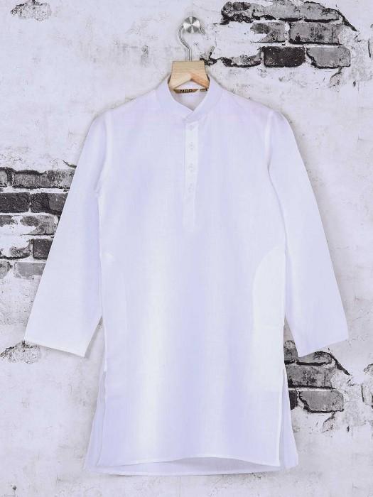White Solid Cotton Fabric Kurta Suit