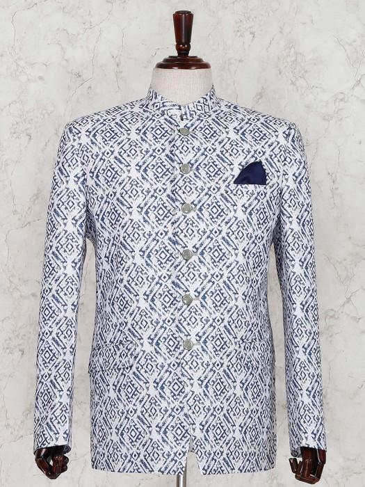 White Terry Rayon Full Sleeves Jodhpuri Suit