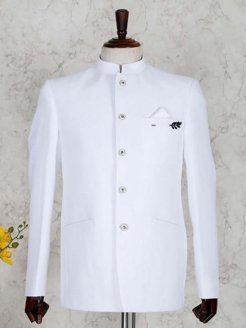 White Terry Rayon Mens Jodhpuri Blazer