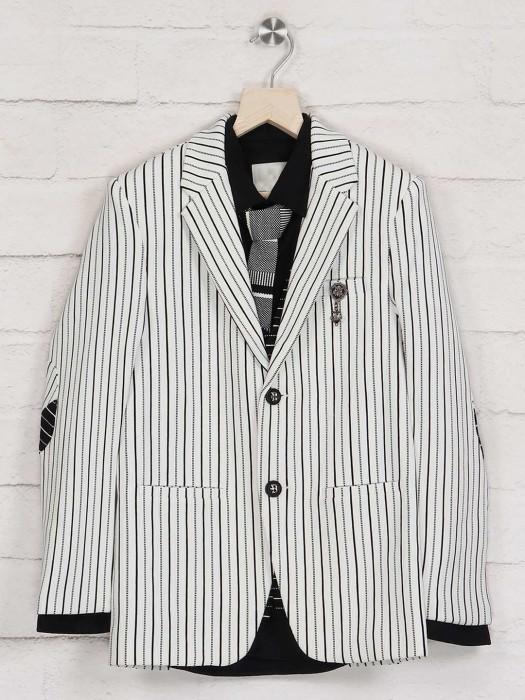 White Terry Rayon Stripe Blazer