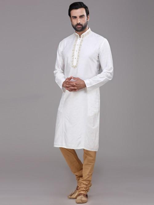 White Thread Work Silk Kurta Suit