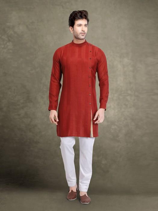 Wine Maroon Designer Stripe Cotton Kurta Suit